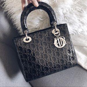 Lady Dior Trotter Monogram Medium Patent Bag